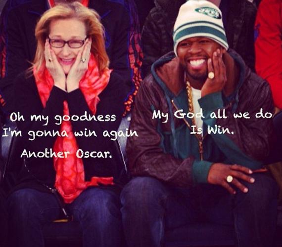 """A rapper szövegeket is szerkesztett a képeikre, erre például azt: """"Ó, Istenem, nyerni fogok még egy Oscart."""" Meryl Streepet eddig 18-szor jelölték a díjra."""