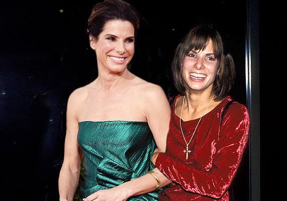 Sandra Bullock napjainkban és 1993-ban, 29 évesen, amikor a Nyom nélkül filmet forgatta.