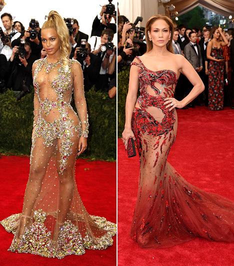 Átlátszó  A 2015-ös Met-gála az átlátszó ruhákról szólt, melyek alatt a sztárok alsóneműt sem viseltek: Beyoncé a Givenchy egyik merész darabját viselte, míg Jennifer Lopez Versace kollekciójából választotta a feltűnő estélyit.