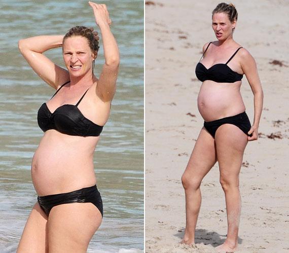 Uma Thurman tavaly júliusban, 42 évesen adott életet harmadik gyermekének, Rosalind Arusha Arkadina Altalune Florence Thurman-Bussonnak, becenevén Lunának. A fotó tavaly március végén készült St. Bart's tengerpartján.