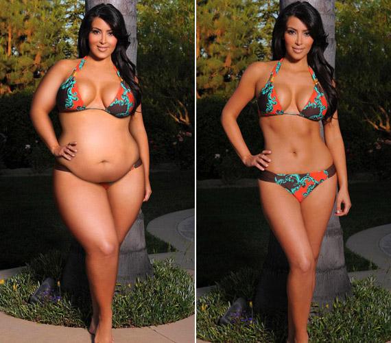 Kim Kardashian kapcsolata a Photoshoppal igen különös, hol lefaragtat magából, hol pedig még ezzel is rásegít, hogy nagyobbnak tűnjön a feneke. Ilyen duci azonban biztosan nem szeretett volna lenni.