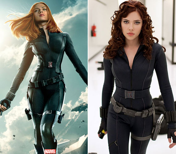 Scarlett Johansson az Amerika kapitány és a Vasember második részében is a Fekete özvegyet alakítja, de az előbbi plakátján keskenyebb a dereka, és a többi testrészén is faragtak. Mint kiderült, a forgatáskor már várandós volt.
