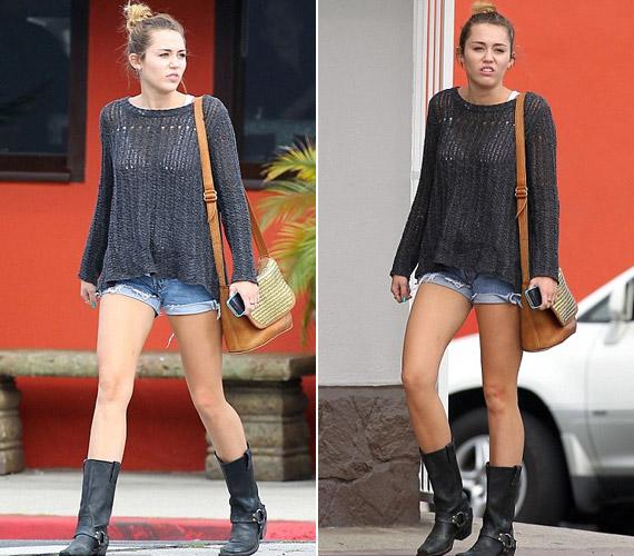Miley Cyrus extra rövid sortban és horgolt, átlátszó pulcsiban ment ki az utcára Los Angelesben.