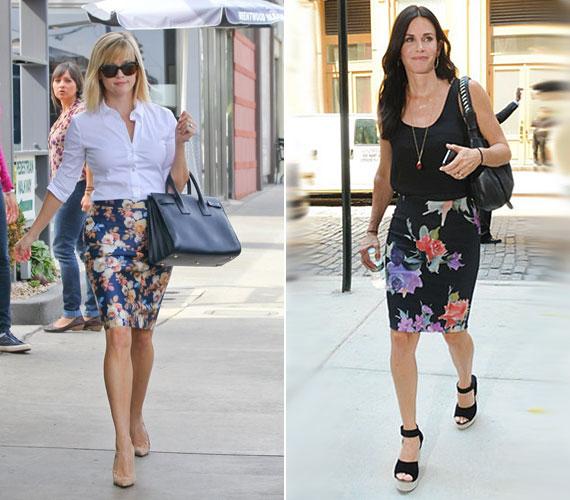Reese Witherspoon és Courteney Cox a virágmintás csőszoknyára esküszik.
