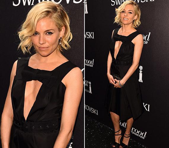 A 33 éves Sienna Miller a cannes-i filmfesztivál egyik kapcsolódó rendezvényén jelent meg ebben a merész és érdekes kivágású Prada ruhában. Legutóbb az 5 Oscar-díjra jelölt Foxcather című filmben láthatták a nézők.
