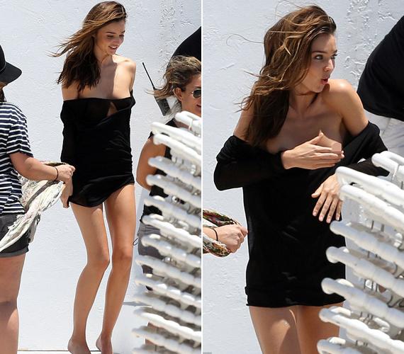 A Victoria's Secret készített róla fotókat Miamiban, amikor lecsúszott a lenge pulóver, ami alatt nem volt semmi.