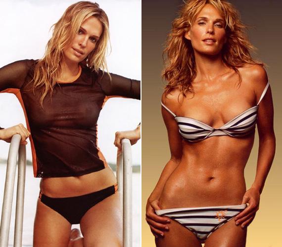 Áttetsző felsőben és bikiniben is többször megmutatta csodás alakját.