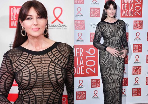 Egy párizsi jótékonysági eseményre érkezett ebben a geometrikus mintákkal díszített, testre simuló ruhában. Így is gyönyörű volt, de az egészsége érdekében választhatott volna egy számmal nagyobbat.