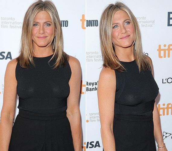 Jennifer Aniston tavaly szeptemberben, a Cake című filmje torontói premierjén villantotta meg kebleit, ám a 45 éves színésznő nem igazán zavartatta magát.