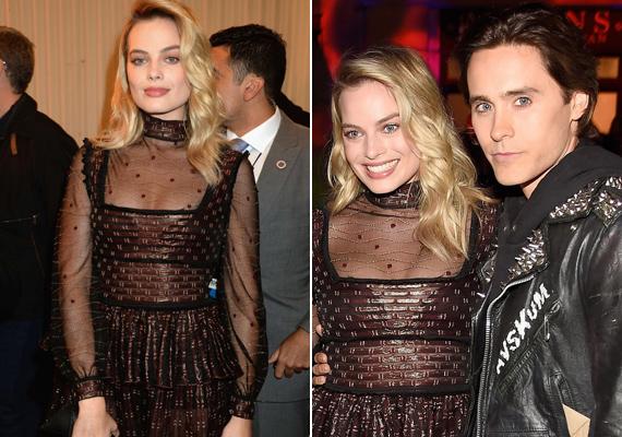 Margot Robbie saját gonosztevő csapatával érkezett a vörös szőnyegre - A Suicide Squad Harley Quinnje egész este filmes partnerét, a Jokert alakító Jared Letót ölelgette.