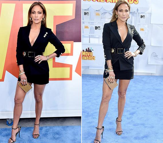 Jennifer Lopez egy feltűnő, mélyen dekoltált szupermini Versace ruhát választott a gálára, nem véletlen, hogy mindenki őt bámulta.