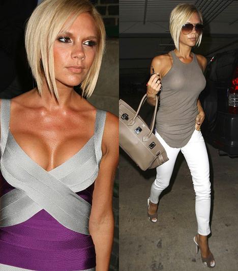 Victoria Beckham  Az első számú focistafeleség ismertetőjegyei voltak a földönkívülinek tűnő luficicik, amelyeket előszeretettel hordott állig felpocolva. Később az implantátumokat kivetette, mondván egy komoly divattervezőhöz nem illenek.  Kapcsolódó cikk: Victoria Beckhamet bugyiban fotózták »