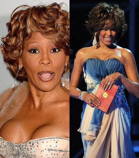 Whitney Houston  A vékony énekesnő mellei túlságosan természetellenesen festettek, sokak szerint ő is plasztikáztatott. Whitney Houston 2012. február 11-én hunyt el.  Kapcsolódó cikk: Whitney Houston élete képekben »