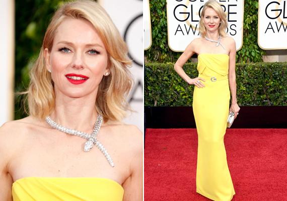 Januárban a Golden Globe-díjátadón is mindenki őt nézte sárga ruhájában. Nem is beszélve a csinos, kígyós nyakláncáról.