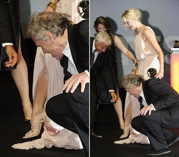 A lenge Nina Ricci-kreáció csúfosan megbukott a vörös szőnyegen, Naomi viszont állva maradt, köszönhetően a rendező, Abel Ferrara gáláns segítségének.