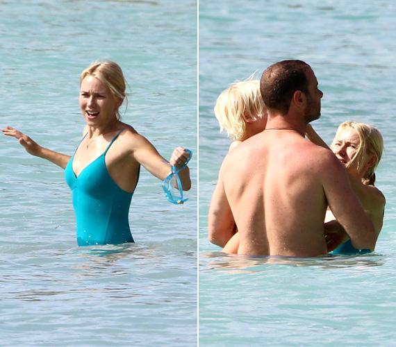 Miután szabad utat engedtek a hormonjaiknak, nagyobbik gyerekükkel lubickoltak a vízben.