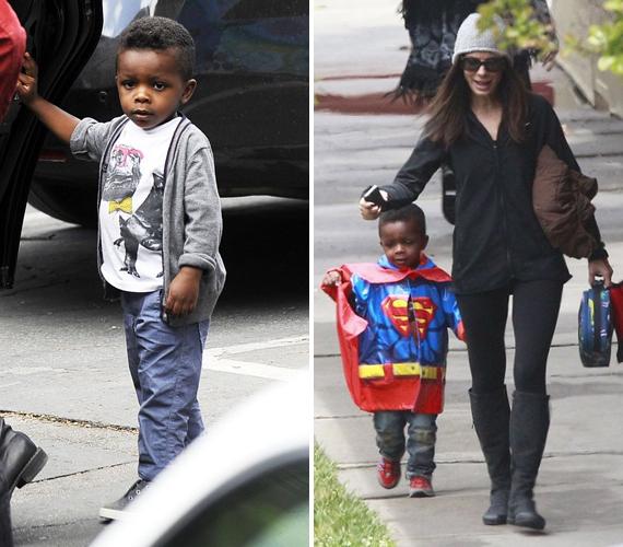 Sandra Bullock három éve fogadta örökbe kisfiát, aki akkor három és fél hónapos volt. Úgy látszik, a kis Louis rajong a szuperhősökért, boldogan ugrál Superman jelmezében.