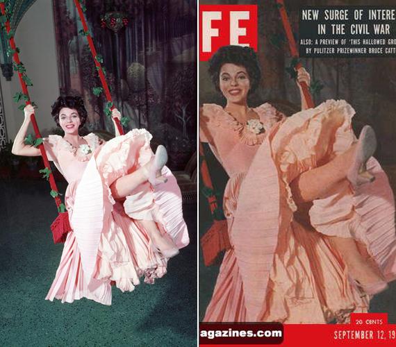 A 82 éves brit színésznőről, Joan Collinsról 1955-ben A lány a bársonyhintában című film forgatásán készült ez a fotó, amely aztán a Life magazin címlapjára került.