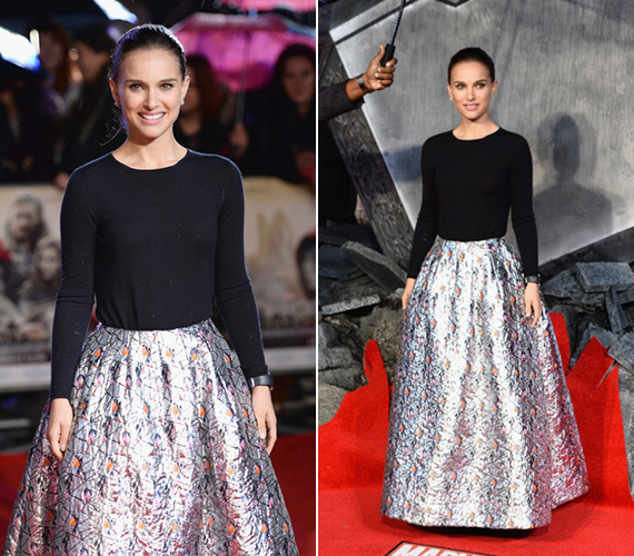 A színésznő látszólag jól érezte magát a ruhájában, valószínűleg semmit nem érzékelt a csodálkozó tekintetekből.