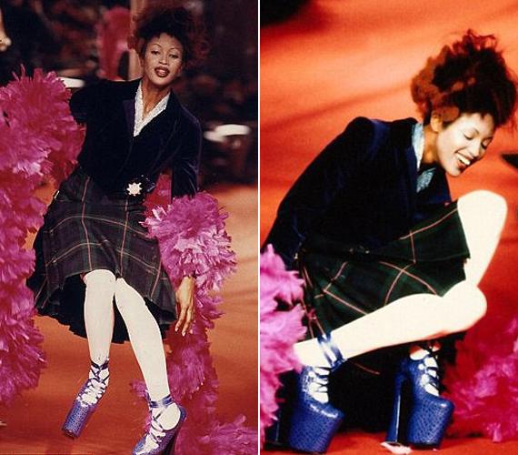 A hatalmas platformcipővel a szupermodell Naomi Campbellnek is meggyűlt a baja, hatalmasat esett Vivienne Westwood bemutatóján.