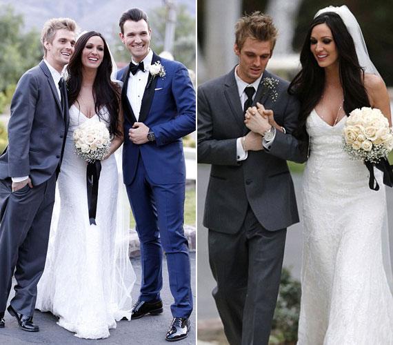 Angel és Aaron Carter ikertestvérek, így érthető, hogy a menyasszonyt a 26 éves énekes kísérte az oltár elé.