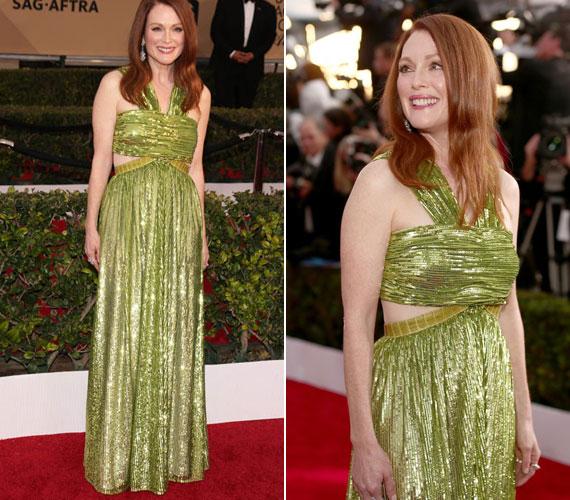 Az 55 éves Julianne Moore zöld estélyije nem aratott sikert a kritikusoknál. A szín illett vörös hajához és fehér bőréhez, ám a ruha fazonja egyáltalán nem állt jól neki.