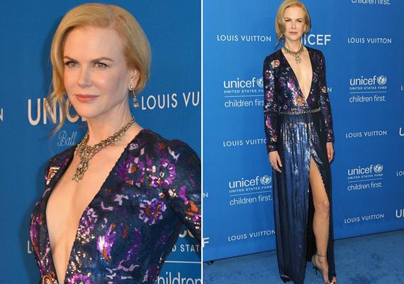Talán még sohasem láthattuk Nicole Kidmant ilyen merész darabban. Combközépig felsliccelt, köldökig kivágott estélyi ruháját mindenki csodálta.