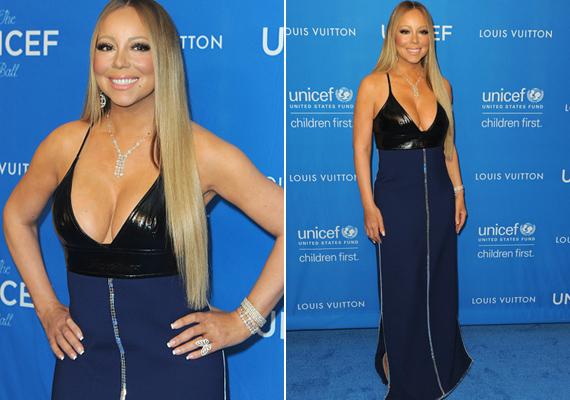 Plusz kilókkal is szuperszexi! A nőies formáiról ismert Mariah Carey ebben a bőr felsőrésszel kombinált ruhában igazi bombanő.