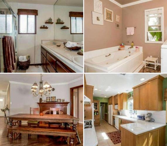 A három hálószobás házhoz két fürdőszoba, hatalmas konyha és tágas étkező is tartozott.