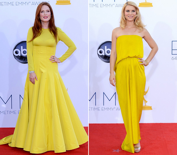 Igaz, idén a legtöbben a kék egyik árnyalatát öltötték magukra, de azért voltak kivételek. Julianne Moore és a terhes Claire Danes például sárgába bújtak, előbbi egy halványabb, hosszú ujjú Dior couture darabot, míg utóbbi egy kanárisárga Lanvin ruhát választott.
