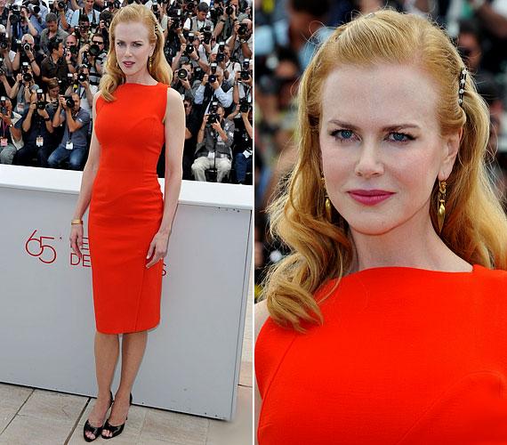 Az élénk színek is remekül állnak a színésznőnek, a testhez simuló fazon pedig előnyös karcsú alkatához.