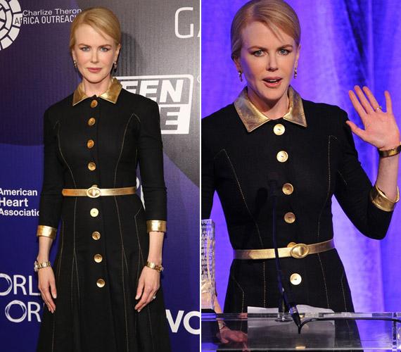 A színésznőtől szokatlan a merész viselet, általában olyan konzervatív darabokra esik a választása, mint amilyen a képen is látható.