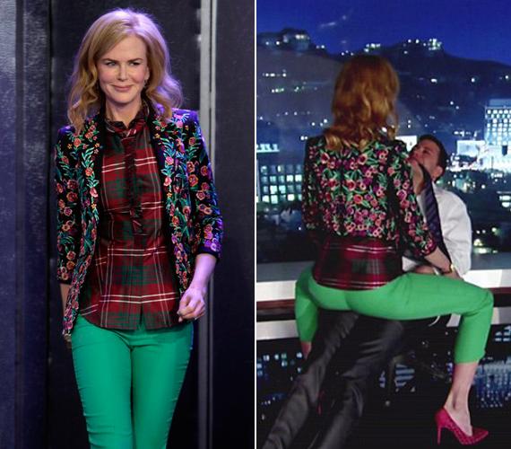 Nicole Kidman erotikus tánca miatt senki sem törődött a színésznő kinézetével: a rózsás kiskabát és a kockás ing érdekes összhatást keltett.
