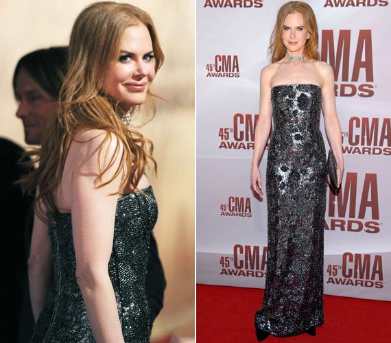 Nicole Kidman 44 évesen is légiesen karcsú, elragadóan állt rajta a Gaultier ruha.