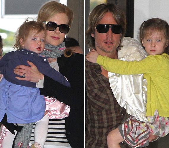 A színésznő a másfél éves Faith-t tartotta karjában, míg férje, Keith Urban idősebb lányukat, Sunday-t vitte, amikor június végén megörökítették a családot.