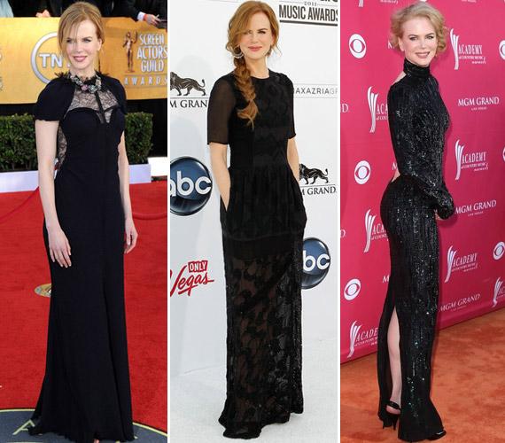 Nicole Kidman a díjátadó gálákra gyakran választ klasszikus szabású, fekete nagyestélyit. A csipkével variált darabok remekül állnak a színésznőnek.