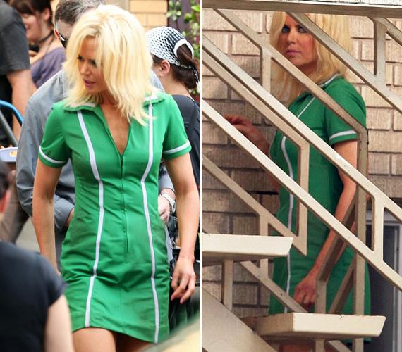A forgatáson készült homályos fotókon a sztár szinte felismerhetetlen, de tény, hogy nagyon dögös ebben a zöld miniruhában.