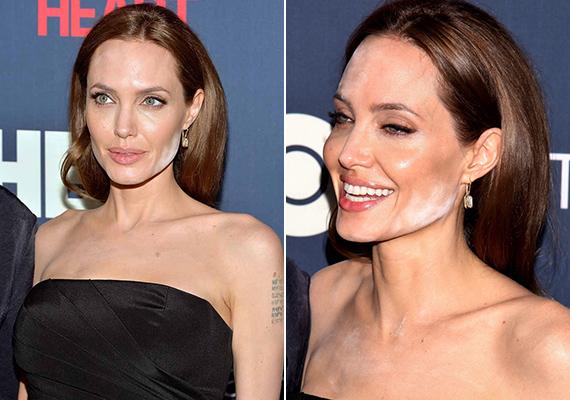 Angelina Jolie is hibázott már, jól látszik, hogy a púdert arra használta, hogy arcélét formázza.