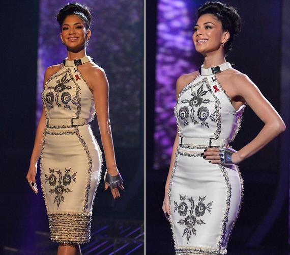 Az X-Factor előző műsorában ebben a szokatlan mintázatú fehér darabban hódított.