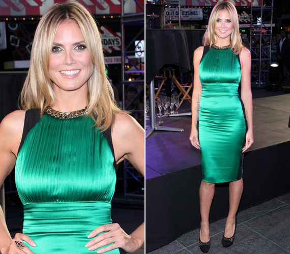 A szupermodell Heidi Klum New Yorkban, a Times Square-en viselte ezt a szenzációs zöld ruhát a Project Runway tizedik szezonjának megnyitóján.