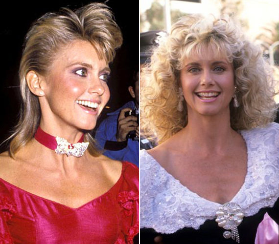 Még a szende külsejű szőkeség, Olivia Newton-John is bevadult a nyolcvanas években, rövidre vágatta a haját és így ment az 1983-as Grammy-gálára. A jobb oldali fotó néhány évvel később, 1989-ben készült az Oscar-gálán, ahová már nagy, dauerolt fürtökkel érkezett.