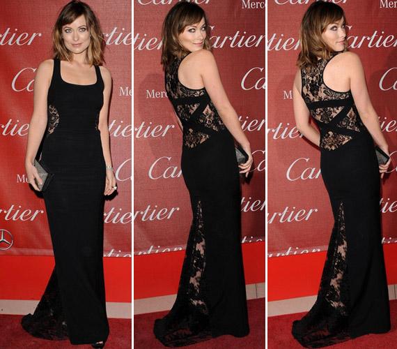 Olivia Wilde karcsú alakján remekül mutatott a testhez simuló csipkebetétes ruha.