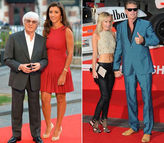 A 82 éves Bernie Ecclestone fiatal felesége, a 61 éves David Hasselhof fiatal barátnője oldalán jelent meg.