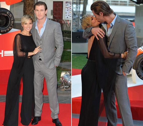 A James Huntot megformáló Chris Hemsworth feleségével, Elsa Patakyval turbékolt a vörös szőnyegen. Úgy tűnik, a hölgyek a fekete színt favorizálták.