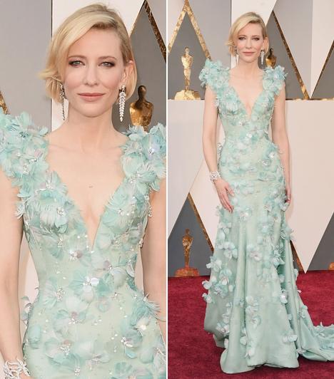 Cate Blanchett  A Carol című film sztárja egy babakék Armani Privé ruhába bújt az eseményre. A 46 éves színésznő lélegzetelállítóan festett.