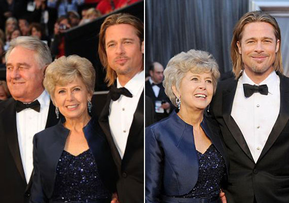 Brad Pitt nem csak 23 évvel idősebb mamájával, Jane-el, de édesapjával, William-mel is megjelent a 2002-es Oscar-díjátadó gálán.