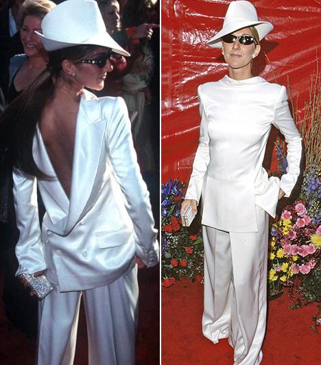 Céline Dion  Úgy néz ki, mintha a My Heart Will Go On gyönyörű énekesnőjének kifordult volna a nyaka ebben a fordítva felvett, hófehér öltönyben, amit 1999-ben viselt.