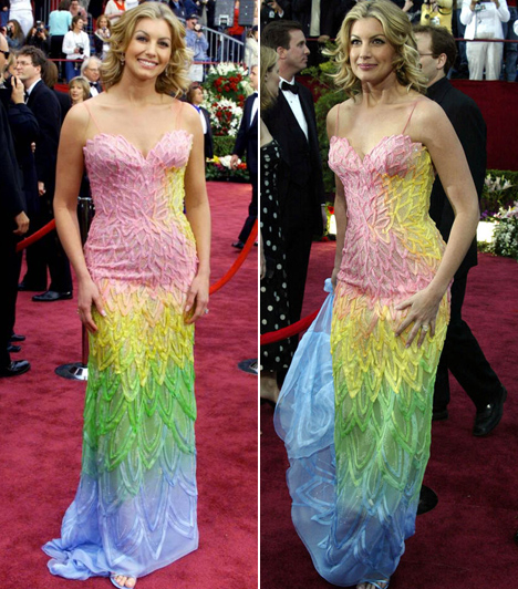 Faith Hill  Alaposan ráfért volna egy stylist az énekesnőre, aki úgy döntött, hogy szivárványnak öltözik a 2002-es Oscar-díjátadóra.