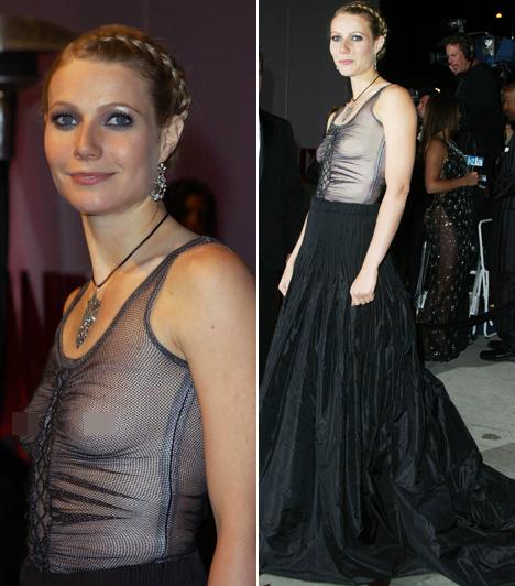 Gwyneth Paltrow  Még a legstílusosabb sztárok is hibázhatnak! A színésznő 2002-ben érkezett az Oscar-gálára ebben a teljesen átlátszó darabban, amiből mindene kilátszott.