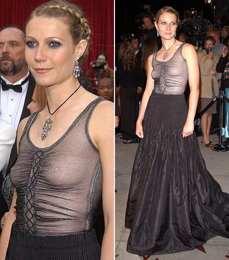 Gwyneth Paltrow                         Az Oscar-díjas színésznő 2002-ben fedte fel a bájait az Oscar-gála résztvevői és nézőközönsége előtt. Hálós anyagú Alexander McQueen ruhája alá kellett volna egy melltartó.